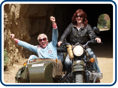 Austin and Lois in a URAL sidecar